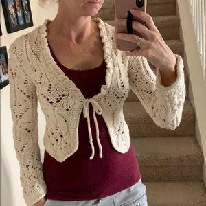 The Limited Cream wool Sweater tie-waist cardigan